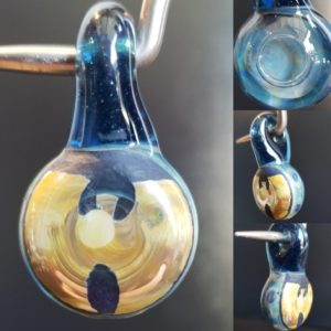 Light Blue/dark Blue Carved Wutang Pendant With Bubble Rig Back